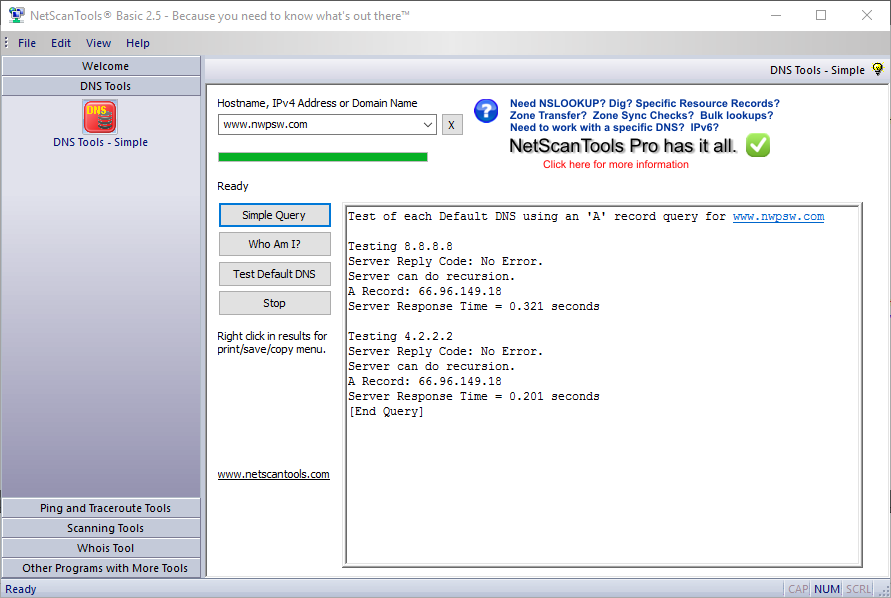 NetScanTools Basic Edition Screenshot