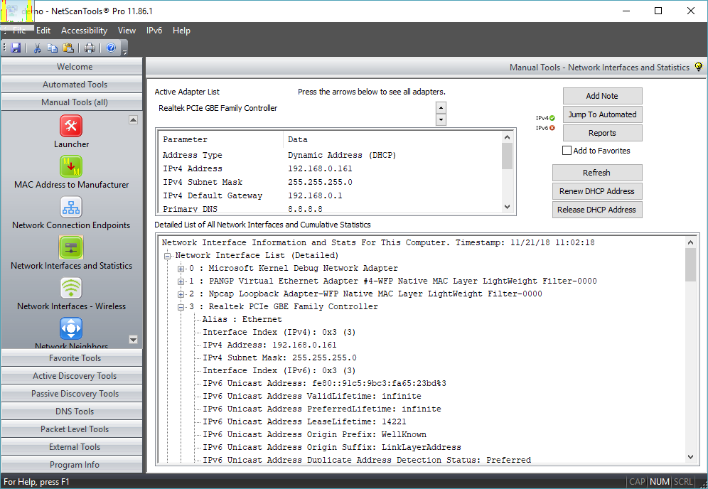 Network Interfaces and Statistics Tool Screenshot