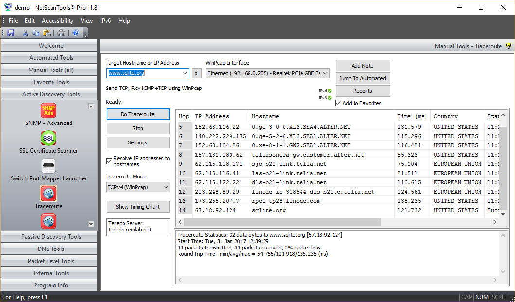 TCP Mode Traceroute Screenshot