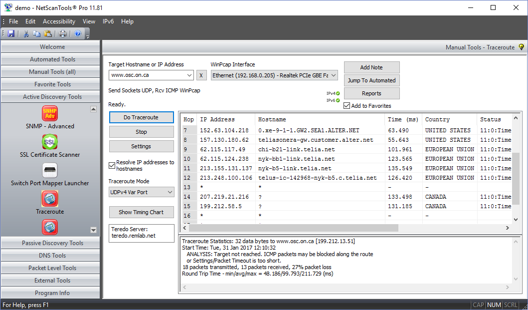 UDP Variable Mode Traceroute Screenshot