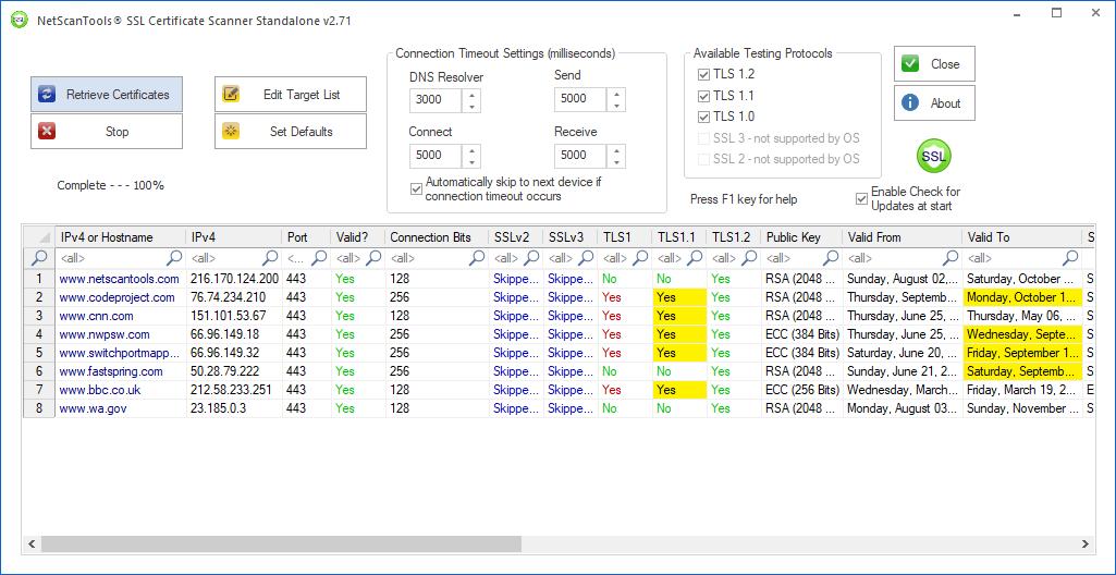 NetScanTools SSL Certificate Scanner